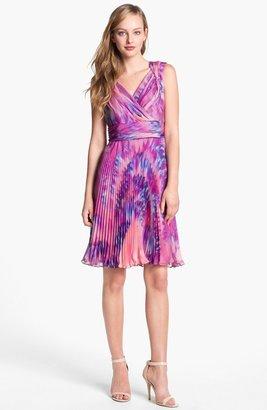 Suzi Chin for Maggy Boutique Pleated Print Chiffon Dress