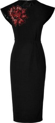 L'Wren Scott LWren Scott Black Silk-Blend Dress with Sequined Flower