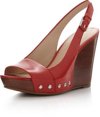 Via Spiga Leather Wedge Platform Sandal, Tomato
