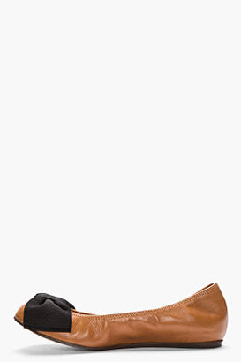Lanvin Brown Leather Bow Ballerina Flats