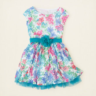 Children's Place Belted floral lace dress
