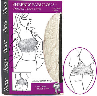 Braza Sheerly Fabulous Stretchy Lace Bra or Midriff Cover, Off white & black, S/M 2 Piece Set