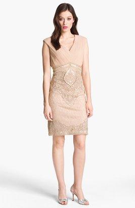 Sue Wong Pleated Bodice Embellished Lace & Chiffon Dress