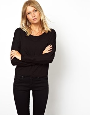 Asos Top with Seam Detail and Long Sleeves - Black