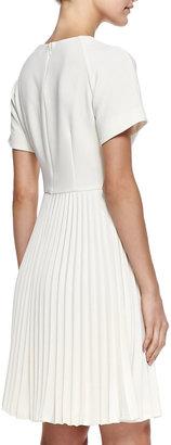 Trina Turk Estrella Pleated-Skirt Crepe Dress