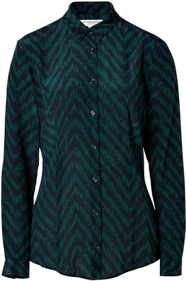 Burberry Silk Tonal Patterned Top in Racing Green