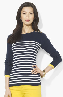 Lauren Ralph Lauren Button Shoulder Stripe Sweater