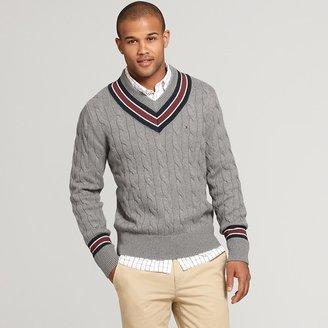 Tommy Hilfiger Men's Cable Cricket Vneck Sweater