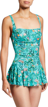 Johnny Was Plus Taina Floral Skirted One-Piece Swimdress