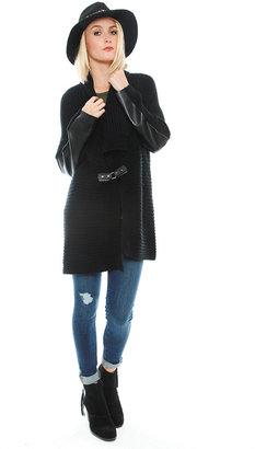 525 America Vegan Leather Trim Cardigan in Black