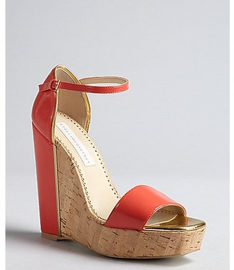 Stella McCartney coral and gold faux leather wedge sandals