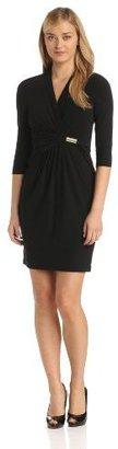 Ellen Tracy Women's Long Sleeve Crepe Surplice Dress