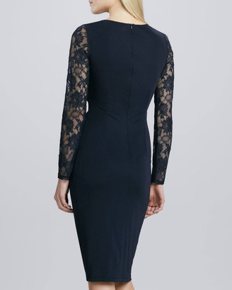 David Meister Knotted Lace Cocktail Dress