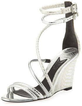 Brian Atwood Sedini Metallic Mixed-Leather Wedge, Silver