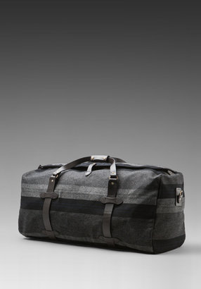 Filson X Richard Chai Colab Black Label Uneven Striped Large Duffle in Grey/Navy Stripe