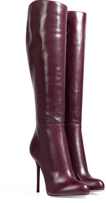 Sergio Rossi Leather Lucid Platform Boots in Bourgogne