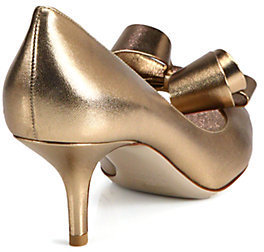 Valentino Couture Metallic Leather Bow Pumps
