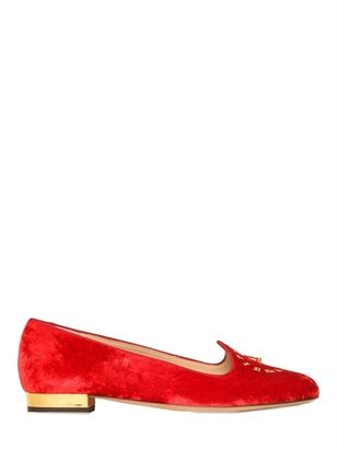 Charlotte Olympia 10mm Fashionably Late Velvet Loafers
