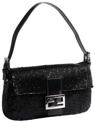 Fendi black beaded mini baguette shoulder bag