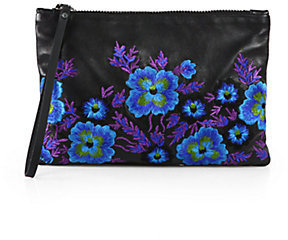 Christopher Kane Embroidered Leather Wristlet Clutch