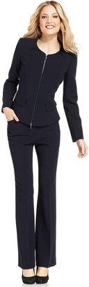 Anne Klein Suit, Collarless Zip-Front Jacket & Pants