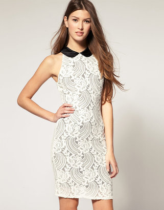 Motel Textured Lace Dress With Contrast Collar
