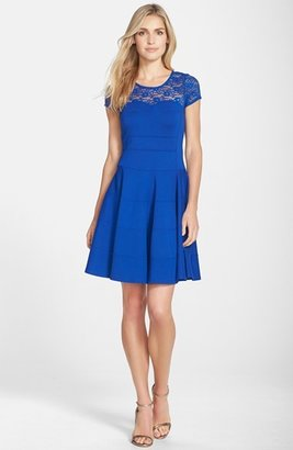 Nordstrom FELICITY & COCO Lace Yoke Fit & Flare Ponte Dress Exclusive)