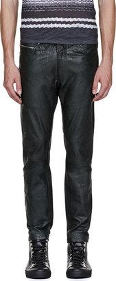 Diesel Black Leather Patu Trousers