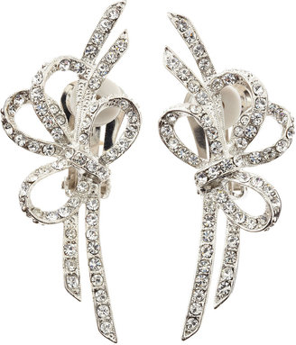 Kenneth Jay Lane Double-Bow Pave Clip-On Earrings
