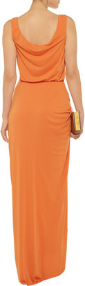 Mikael Aghal Bead-embellished ruched stretch-knit gown