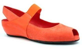"Pas De Rouge R918"" Orange Suede and Patent MaryJane Wedge"
