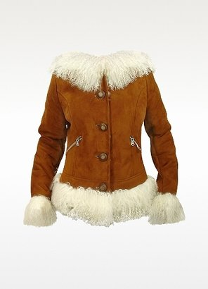 Forzieri Women's Mongolian Fur-Trim Shearling Hooded Jacket