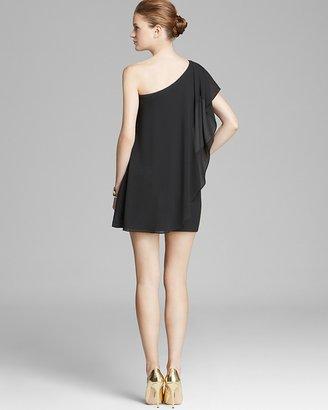 AQUA Dress - One Shoulder Ruffled