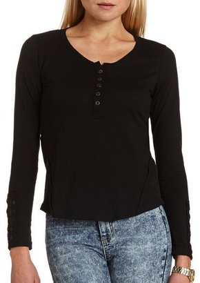 Charlotte Russe Lace-Trim Henley Tee