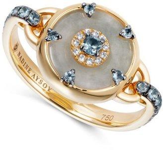 Nadine Aysoy Celeste Aquamarine And Jade Ring