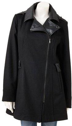 Giacca mixed-media wool-blend coat