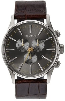 Nixon 'Sentry Chrono' Embossed Leather Strap Watch, 42Mm $250 thestylecure.com