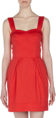 French Connection Sweetheart Poplin Dress, Velarian Red