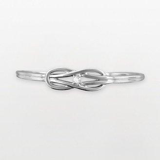 Reebok Rhodium-plated sterling silver 1/5-ct. t.w. diamond love knot bangle bracelet