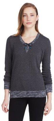 Calvin Klein Jeans Women's Long Sleeve Drawcord Scoop Neck