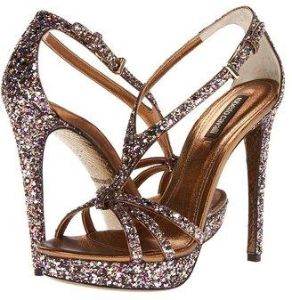 Roberto Cavalli Glitter Sandal (Black/Gold) - Footwear