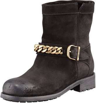 Jimmy Choo Daze Distressed Suede Mountain Combat Boot, Black