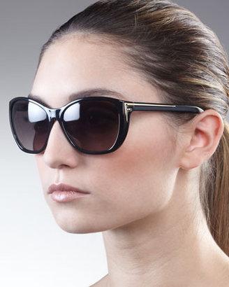 Fendi Sleek Logo-Arm Sunglasses, Black