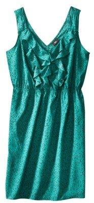 Green & Black Mossimo® Womens Plus-Size Sleeveless Cascade Ruffled Dress - Green/Black