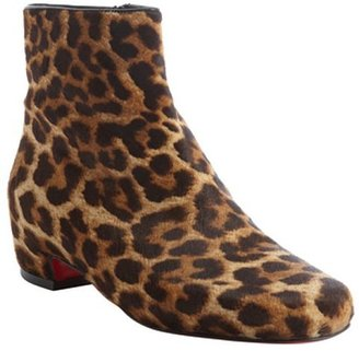 Christian Louboutin brown leopard print calf hair 'Tounoir' ankle boots