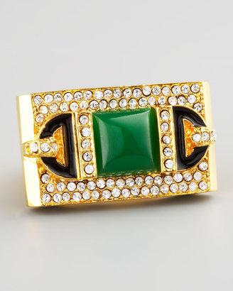 Rachel Zoe Rectangular Ring, Green Quartz