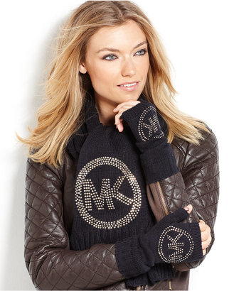 MICHAEL Michael Kors Sparkle Logo Solid Arm Warmers Gloves