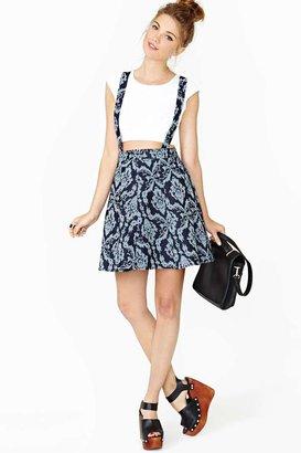 Nasty Gal Denim Jacquard Suspender Skirt