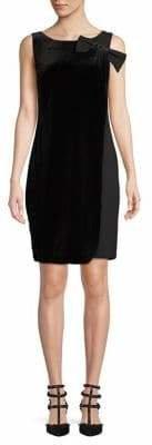 Karl Lagerfeld Paris Sleeveless Bow Shoulder Velvet Overlay Shift Dress