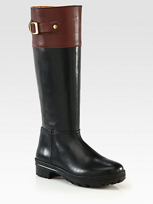 Hunter Cirano Leather Buckle Knee-High Boots